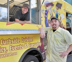 Shorty's Sunflower Cafe owner George Bieber, top left, and his truck chef Kris Amerine, with the new Sunflower Truck Stop vehicle. Shorty's is located at 1494 N. Charlotte St., Pottstown, where it has been in business since 2000.