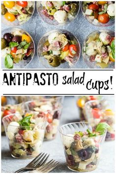 Individual Antipasto Salad Cups Perfectly easy and cute antipasto salad cups are great for any outdoor fun activity. Take them to concerts in the park, ball games or serve them up as tasty grab and go salads at your next backyard party! Individual Appetizers, Italian Appetizers, Appetizers For Party, Appetizer Recipes, Salad Recipes, Healthy Recipes, Italian Party Foods, Italian Snacks, Dinner Recipes