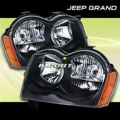 2005 2006 2007 JEEP GRAND CHEROKEE BLACK HEADLIGHT HEADLIGHTS W/REFLECTOR Jeep Wrangler Accessories, Jeep Accessories, Srt8 Jeep, 2005 Jeep Grand Cherokee, Jeep Wk, Black Headlights, Jeep Mods, Black Jeep, Luxury Suv