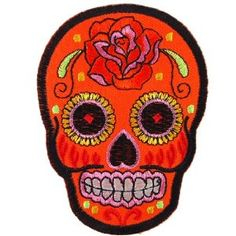 "ROSE SUGAR SKULL DAY OF THE DEAD 3.5/"" x 2.5/"" iron on patch applique CHOICE"