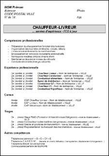 Cv Type Chauffeur Livreur Cv Type Modele Cv Livreur