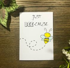 Keep is simple with this Handmade Thinking of You Handmade greeting card, filled with cute bees and funny puns. This card is perfect for anyone to let them know you are thinking of them! Each card is individually created and unique! Homemade Greeting Cards, Funny Greeting Cards, Homemade Cards, Homemade Envelopes, Handmade Greetings, Greeting Cards Handmade, Bee Cards, Cards Diy, Hand Drawn Cards