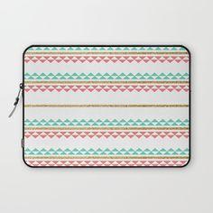Mint Coral Gold Glitter Tiny Triangle Stripes Laptop Sleeve