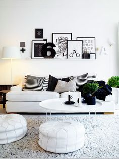 When I try to lean frames against the wall it never looks like this! Black & white decorating