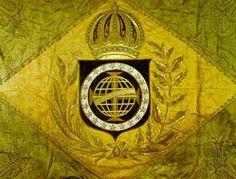 Primeira bandeira do Brasil idealizada pela jovem Imperatriz Verde dos Braganças e amarelo dos Habsburg