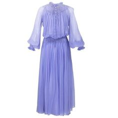 1970s Nina Ricci Lavender Chiffon Gown and Shawl ❤ liked on Polyvore featuring dresses, gowns, purple gown, chiffon dresses, purple dress, smock dress and lavender dress