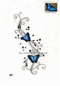 Butterfly tattoo, add one more butterfly and tweak it a bit and this might look good for my text tattoo for my grandma and pappy! #KidsTattooRemoval