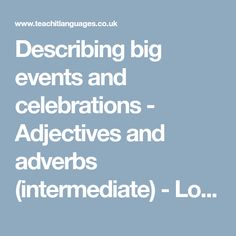 adjectives for describing festivals events and celebrations