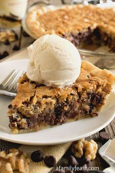 This Toll House Chocolate Chip Pie has the flavors of your all time favorite cookie recipe -- sweet, buttery batter with chocolate chips and walnuts! via @bestblogrecipes