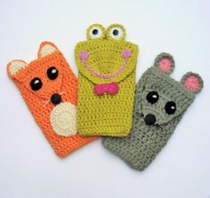 Crochet Phone Pouch Crochet Phone Case Mouse and Fox for Kids Mobile Phone by - Crochet Phone Cover, Crochet Case, Crochet Purses, Cute Crochet, Crochet For Kids, Crochet Fox, Animal Phone Cases, Funny Phone Cases, Easy Crochet Projects