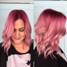 Pink sombre hair vibrant to pastel