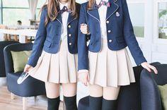 ○•SCHOOL GiRL~•○ school uniform - - pleated skirt - - blazer - - jacket - - bow tie ribbon - - stockings - - friends - - cute - - kawaii