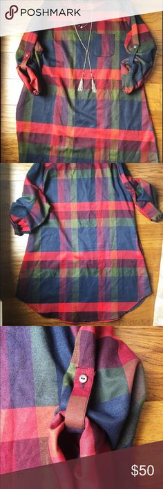 🍎Plaid vintage dress!🍎 Such an adorable plaid dress! Sleeves are 3/4 length when rolled up with button closure. Such a great fall staple or for any time of the year! Dress up with boots in the colder months or cute vintage sandals for the warmer days. Size is an XL but really cute to wear as a slight oversized dress for smaller sizes. Also features a front chest pocket and two side hand pockets. Lovely vintage dress and in excellent condition. Roughly measures about 35 inches long. 100%…