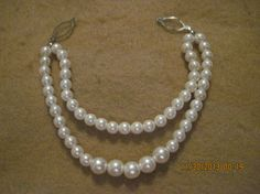 Vintage BEAUTIFUL White Faux Pearl Double by upthewazzucreations