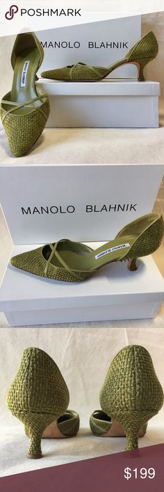 Manolo Blahnik Green Leather Closed Toe Kitten, 38 Manolo Blahnik kitten heel pumps in excellent condition! Slip On. Closed, pointed toe. Basket weave leather with criss cross detail over toe. Size: 38. Manolo Blahnik Shoes Heels