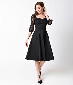 1950s Style Black Three-Quarter Sleeve Lace Cotton Adrienne Swing Dress