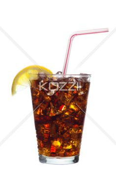 refreshing drink - A refreshing iced drink with a straw