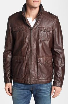 LEVI'S $240 FAUX LEATHER BLANKET LINED FIELD JACKET DARK BROWN MENS LARGE NEW #Levis #BasicJacket