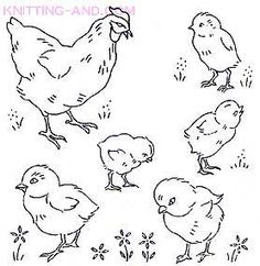 Chicken and chick embroidery designs