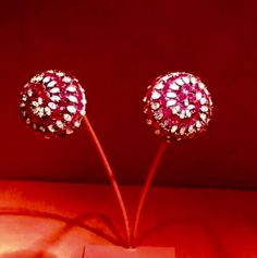 54 - spiral Dome earrings by JAR Paris, 2008 - Rubies, diamonds, pink sapphires, platinum, silver, gold