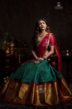 Half saree lehenga - whats app orMail tejasarees Half Saree Lehenga, Lehnga Dress, Bridal Lehenga Choli, Saree Look, Saree Wedding, Anarkali, Sari, Lehenga Dupatta, Kids Lehenga