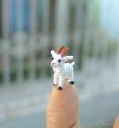 Micro crochet white goat  06 inch by LamLinh on Etsy, $35.00