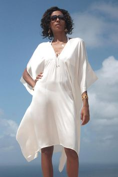 3/4 length Kaftan in Charmeuse Silk - Plain White | Shop | Lotty B & The Pink House Mustique