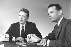 Huntley & Brinkley on NBC evening news :: I even vaguely remember the first time they were paired, covering presidential conventions (probably Kennedy and Nixon) David Brinkley, Newscaster, Nbc Tv, Old Tv Shows, Vintage Tv, Teenage Years, Nbc News, Classic Tv, Bob Dylan