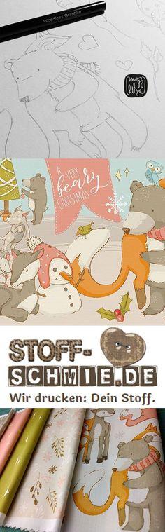 BEARY CHRISTMAS Serie auf Stoff gestaltet von MizzLisa. Brandneu und exklusiv bei der Designerin erhältlich.