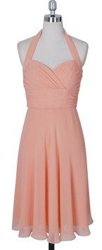 Peach Halter Sweetheart Pleated Waist & Bust Chiffon Size:8 Dress $65