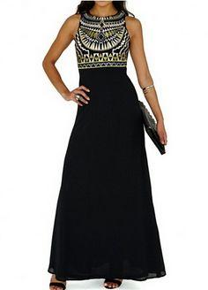 Boho Print Chiffon Dress Plus Size Casual Long Dress Tank Elegant Women Sleeveless Black Summer 2015 Sexy Dresses, Cheap Maxi Dresses, Fashion Dresses, Sleeveless Dresses, Maxi Robes, Chiffon Dress Long, Print Chiffon, Embroidery Dress, Designer Dresses