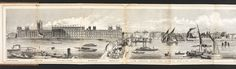 Part 1 of a panorama of the River Thames, engraved by Charles Vizetelly in 1844.