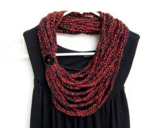 crochet cadena bufanda bufanda del collar por RockinLola en Etsy