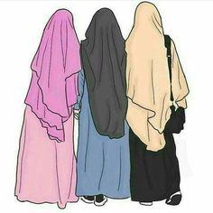 until to jannah Best Friends Cartoon, Friend Cartoon, Friend Anime, Girl Cartoon, Muslim Girls, Arab Girls Hijab, Muslim Women, Muslim Pictures, Islamic Pictures