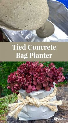 Tied Concrete Bag Planter – Made By Barb – Super easy pour into a recycled foil bag to create a quick unique concrete planter or vessel - All About Gardens Concrete Planter Molds, Concrete Bags, Concrete Crafts, Concrete Garden, Concrete Projects, Concrete Design, Succulent Planter Diy, Diy Planters, Succulents Garden