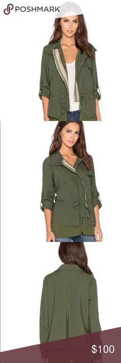 GREYLIN Olive Green Military Jacket Beautiful, medium weight jacket for the upcoming fall season 🍁 Pair it with your favorite pair of combat boots and channel your inner warrior. Cotton blend. Front zipper closure. Drawstring waist. Front slant pockets. Embroidered fabric lining. Shear chiffon contrast. Price is negotiable 😁 Greylin Jackets & Coats Utility Jackets