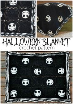 Halloween Crochet Blanket - Have some Halloween fun with this Halloween Crochet Blanket! It's the perfect size to wrap up in while watching your favorite Halloween movie! Crochet Skull Patterns, Halloween Crochet Patterns, Crochet Stitches Free, Crochet Blanket Patterns, Crochet Designs, Free Crochet, Knitting Patterns, Crochet Blankets, Doll Patterns