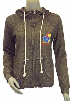 Kansas Jayhawks Womens Hooded Sweatshirt - Charcoal Jayhawks With Honors Long Sleeve Hoodie