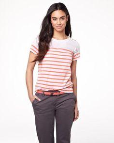 Short sleeve t-shirt in stripe - very cute sailor-themed t-shirt from RW Teacher Outfits, Teacher Clothes, T Shirts For Women, Sailor, Cute, Sleeves, Tops, Fashion, Moda