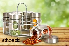 Spice Rack & 6 Jars