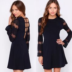 """↠Navy Blue Bell Sleeve Dress↞ New in package.  Navy blue bell sleeve dress Strappy back detail and soft """"lace"""" sleeves Functional zipper on the side  No Trades, PayPal, lowballing. Bundle 2+ items & Save 10%. ✅Price firm unless bundled. Free gift with purchase! Dresses Long Sleeve"""
