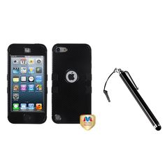 Insten Tuff Hybrid iPod Case Cover/ Stylus for Apple iPod Touch 5th/ 6th, Black #1161098
