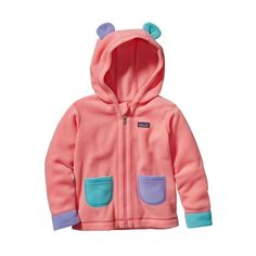 For Alma, in pink 3.6 months. Patagonia Baby Fleecy Ears Jacket