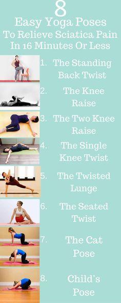 8 Easy Yoga Poses To Relieve Sciatica Pain In 16 Minutes Or Less - Buzzenova. Yoga Poses For Sciatica, Sciatica Exercises, Back Pain Exercises, Easy Yoga Poses, Sciatica Stretches Pregnancy, Sciatica Pain Treatment, Sciatica Pain Relief, Sciatic Pain, Diet