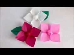折り紙  「あじさい」の折り方    How to make origami hydrangea - YouTube