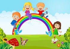 Photo about Illustration of Cartoon Happy kids sitting on rainbow. Illustration of positive, cartoon, garden - 55852331 Cartoon Bee, Fruit Cartoon, Happy Cartoon, Cartoon Kids, Kids Background, Animation Background, Vector Background, Happy Children's Day, Happy Kids