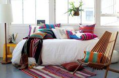 Ideas de color diseño de interiores deco mexicanos patrón almohada decorativa