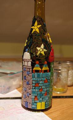 Mosaic bottle progress by Meaco's Art Garden Mosaic Crafts, Mosaic Projects, Mosaic Art, Mosaic Glass, Glass Art, Stained Glass, Wine Bottle Art, Wine Bottle Crafts, Glass Bottle
