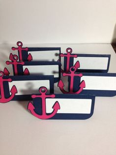 12 Navy and Pink Nautical Anchor Place Cards/ Food by MiaSophias