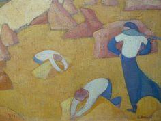 BERNARD Emile,1891 - Moisson au Bord de la Mer - Detail 07 - DENIS on BERNARD artworks in 1943 : « Adresse du pinceau. Il avait, dès ses débuts, le sens de la composition et il a toujours su bien remplir sa surface. Son dessin est resté ce qu'il était, décoratif, inventé, stylisé. Il a changé de manière, mais il a toujours été un maniériste. » (DENIS, Journal, 1943)